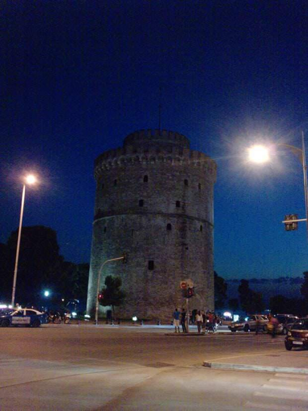 white tower by night